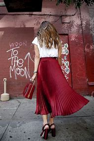 Red Pleated Skirt Outfit