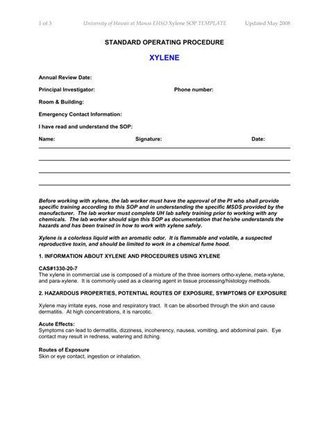 SOP Template for Xylene