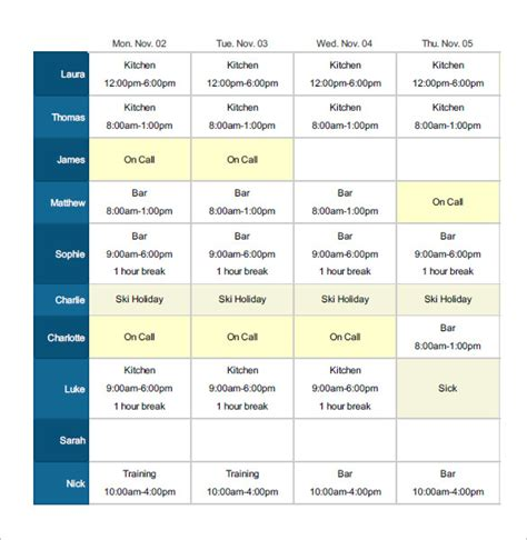 employee shift schedule generator planner template