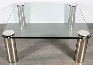 Mid century modernist cocktail table with cylindrical for Brushed nickel coffee table