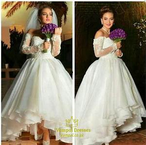 a line off shoulder sweetheart high low wedding dress with With long sleeve high low wedding dresses