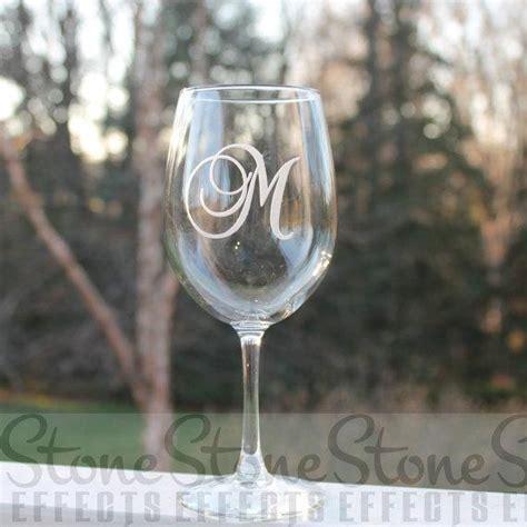 monogram wine glass etched wine glass wine glass monogram