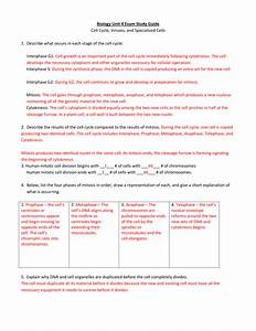 Biology Unit 4 Exam Study Guide Cell Cycle  Viruses  And