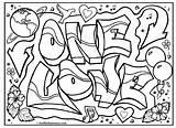 Graffiti Coloring Pages Teenagers Getdrawings sketch template