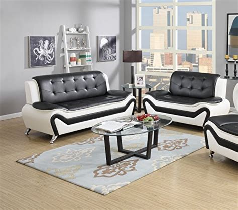 black and white leather sofa set us pride furniture s5067 2pc 2 piece modern bonded leather