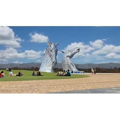 Kelpies sculpture assembled between Falkirk and