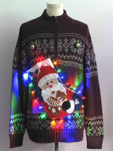 mens multicolor lightup hand embellished ugly christmas