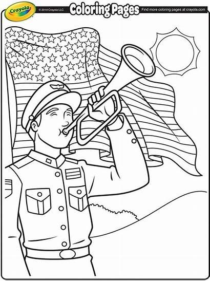 Coloring Memorial Crayola Pages Bugler Happy
