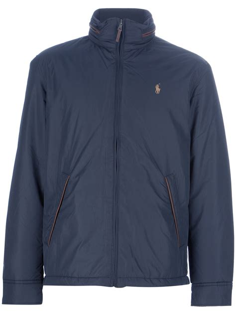 polo ralph logo jacket in blue for navy lyst