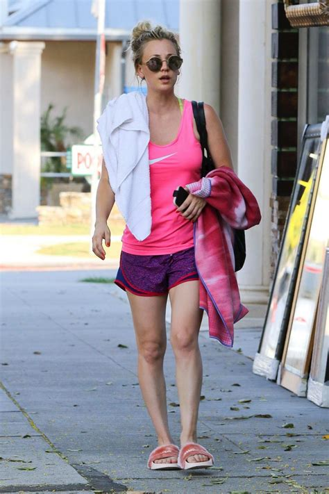 kaley cuoco in a pink nike tank top and shorts leaves a ...