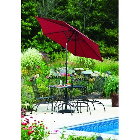 3 tier tilt patio umbrella burgundy canopy