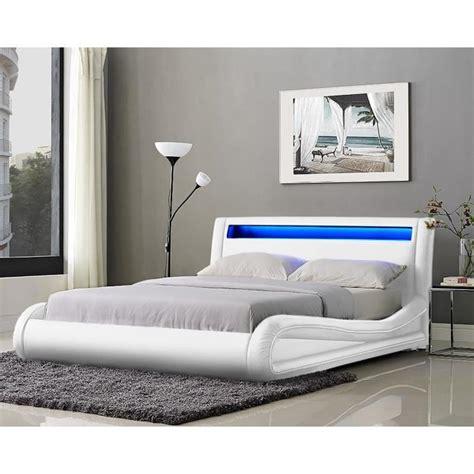 neptune lit adulte avec led 140x190cm blanc sommier inclus achat vente lit pas cher