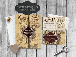 harry potter wedding invitation set marauder39s map With diy geeky wedding invitations
