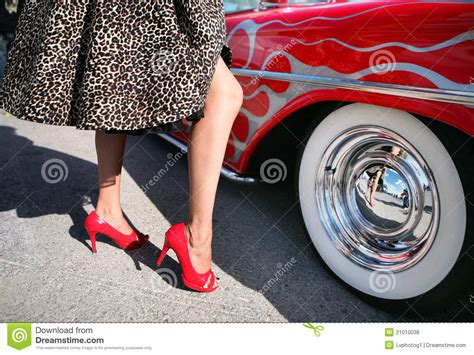 rockabilly  red muscle car stock photo image
