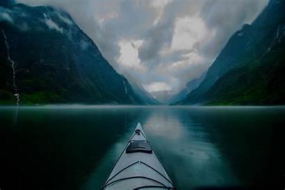 Rain Norway Mountain Fjord Landscape Nature Morning
