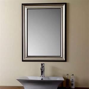 Miroir Cadre Bois : miroir r versible argent avec cadre en bois imitation de salle de bains 23 6 po x 31 5 po yj ~ Teatrodelosmanantiales.com Idées de Décoration