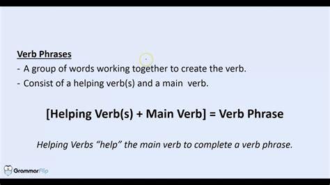 Verb Phrases  Grammar Lesson Trailer Youtube