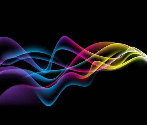 colorful abstract waves  black background vector graphic
