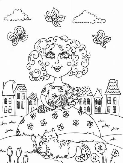 April Coloring Pages Spring Scene