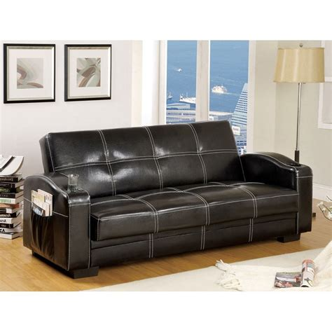 black leather futon shop furniture of america colona black faux leather futon