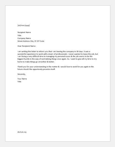 Resignation Letters for Marriage, Illness, Study & Personal Reason | Document Hub