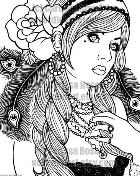 Digital Download Print Your Own Coloring Book Outline Page - Gypsy Girl Tattoo Flash by Carissa