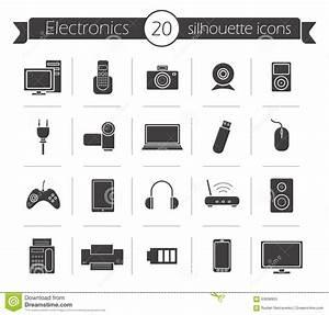 Consumer Electronics Black Silhouette Icons Set Stock ...