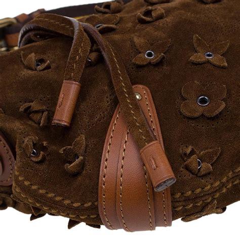 louis vuitton cacao suede limited edition onatah fleurs pm bag  sale  stdibs