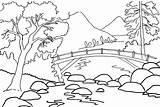 Scenery Coloring Nature Drawing Outline Simple River Colour Clipart Pemandangan Landscape Cartoon Drawings Line Without Sungai Gambar Mewarnai Alam Adults sketch template