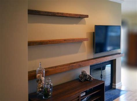 hand  reclaimed lumber floating shelves  abodeacious