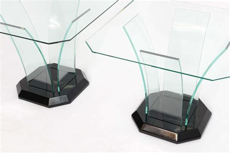 bent glass end table pair ben mildwoff art deco bent glass side tables at 1stdibs