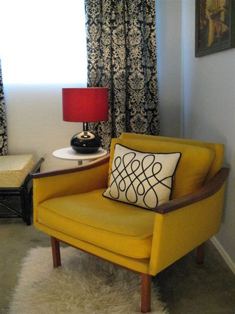 yellow mid century modern chair eclectic bedroom los