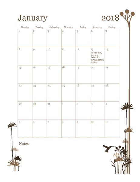 18 Month Calendar Template by 2018 12 Month Calendar Mon Sun