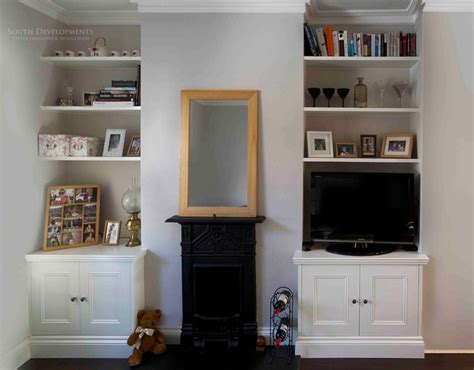 Diy Fitted Living Room Cupboards by Fitted Alcove Cupboards Floating Shelves Traditional