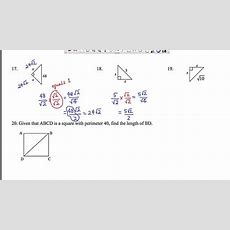 Mathcamp321  Geometry 454590 Special Right Triangles D Youtube