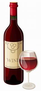 Wine bottle and glass vector clipart - Clipartix