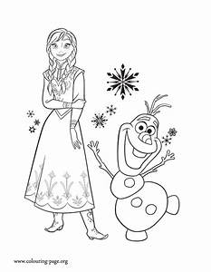 Frozen - Princess Anna and her friend Olaf coloring page