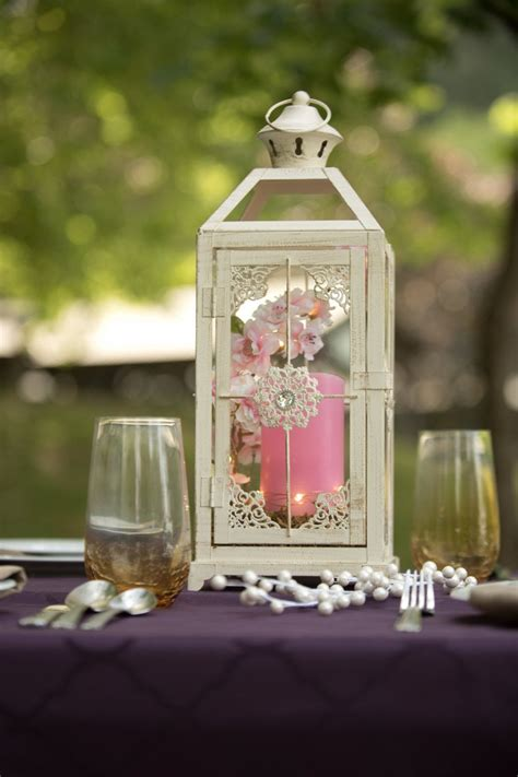 Vintage Wedding Lantern / Wedding Decor / pink and white