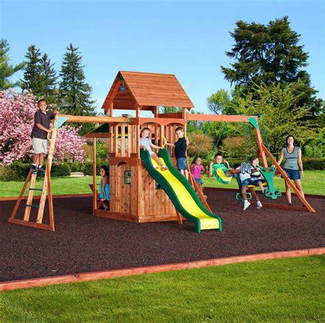 Outdoor Play House Cedar Swing Set Slide Backyard