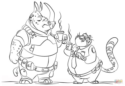 Mchorn And Benjamin Clawhauser From Zootopia Coloring Page