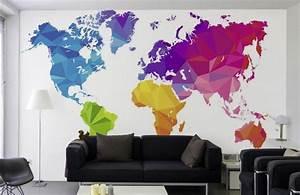 Papier Peint Planisphère : planisph re g ant carte du monde d corative imprim e ~ Teatrodelosmanantiales.com Idées de Décoration