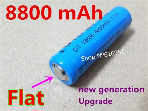 Upgrade Blue 18650 Flat 8800mah Rechargeable Battery 37v