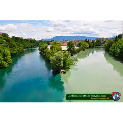 Confluence of Rhône and Arve rivers (Geneva Switzerland