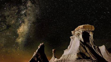 Nature Landscape Mountain Rock Sky Night Stars
