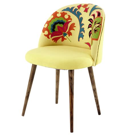 chaise vintage maison du monde embroidered cotton and sheesham wood vintage chair in