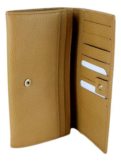gucci beige medium leather continental flap wallet luxury krush