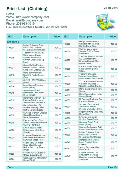 Product Price List Template With Pictures by Product Price List Template With Pictures Image