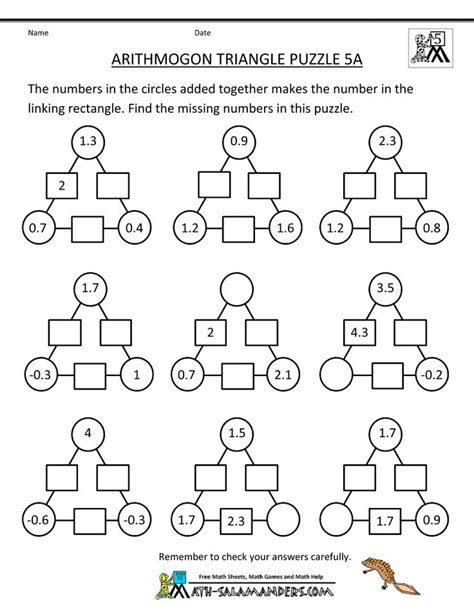printable math puzzles 5th grade math pinterest equation maths puzzles and math