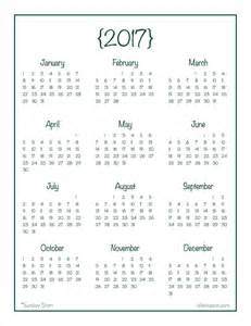 2017 Year at Glance Calendar Printable