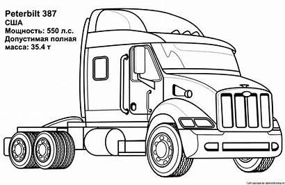 Coloring Truck Semi Peterbilt Pages Trucks Drawings